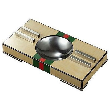 Francis Cigar Ashtray High Polished Light Wood Body w/ Black Red & Green Accent