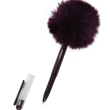 Purple Puff Ball Pen