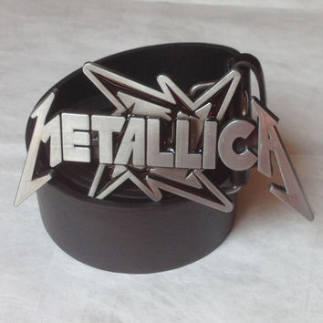 "Metallica rock music Belt Buckle And 1.5""PU Black And Brown Screw On Belt Native Style"