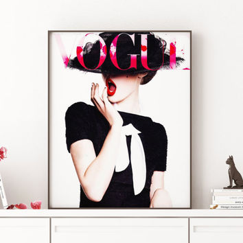 Vogue Cover Art Wall art Fashion Illustration German Vogue Print,Watercolor Vogue Print Vogue Fashion Print,Vogue Cover Art,Vogue Print