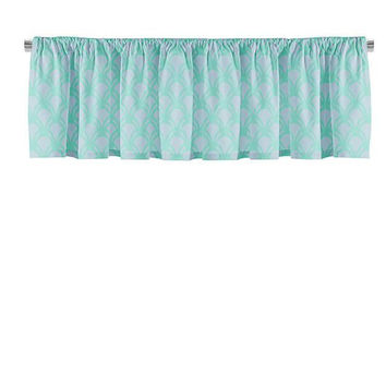 Turquoise and Gray Scales Valance