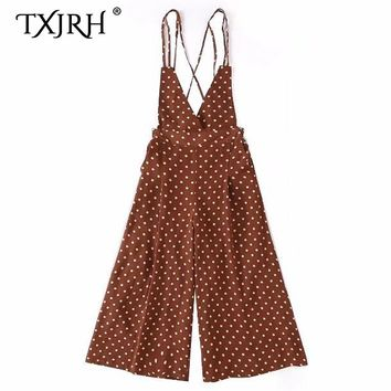 TXJRH Sexy Polka Dot Deep V-Neck Backless Cross Strap Rompers Jumpsuit Women Elastic Waist Loose Wide Leg Bodysuit Overalls