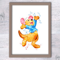 Winnie the Pooh art poster Roo watercolor print Disney poster Nursery room decor Home decoration Child room decor Disney wall art decor V11