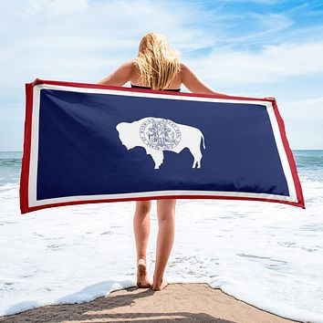 Wyoming State Flag Beach Towel