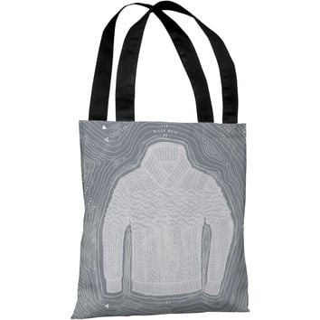 """White Sweater Island"" 18""x18"" Tote Bag by Michael Sanderson"