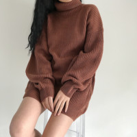 High collar style thick warm long-sleeved sweater