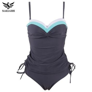 NAKIAEOI 2018 New Swimwear Women Swimsuit Push Up Tankini Set Vintage Retro Bandage Bathing Suits Beach Wear Plus Size Swimwear