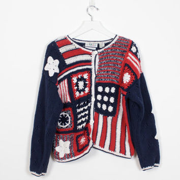 Vintage American Flag Sweater 1990s Hand Crocheted Cardigan Red White Blue Stars Stripes Knit Sweater 90s Jumper Granny Patchwork S M Medium
