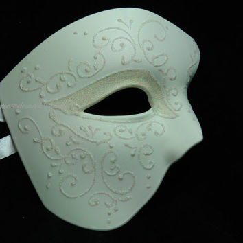 Phantom of the Opera Masquerade Mask - Venetian style - OFF White Masquerade Mask
