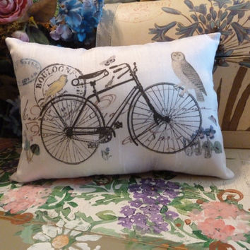 Vintage Print of Paris  Bicycle Birds Small Cushion