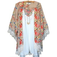 Gorgeous Ladies Floral and Lace Khaki and Flower Kimono Coverup Cardigan
