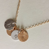 Mixed Metal Circle Necklace / Initial / Stamed / Personalized / Name / Date / Silver and Gold / Kids / Gift / Mom / Bridesmaid