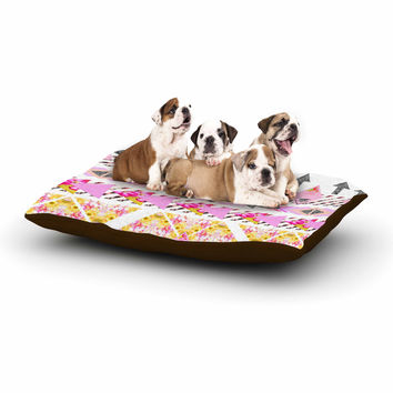 "Danii Pollehn ""Modern Stripes"" Pink Geometric Dog Bed"