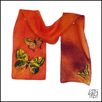 Silk scarf Orange with Yellow Butterflies. Hand Painted Silk Scarf Orange Yellow Black - Butterfly Dance. 8x53 inches. READY TO SHIP.