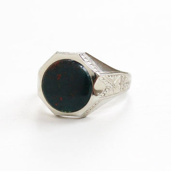 Antique Art Deco 10k White Gold Bloodstone Ring - Vintage 1920s Size 10 Mens Green & Red Stone Geometric Wheat Design Fine Mens Jewelry