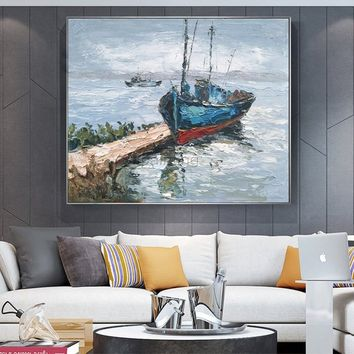 Original Seascape Oil painting on canvas  heavy textured extra large boat ship Wall Art picture for living room home decor caudro decoracion