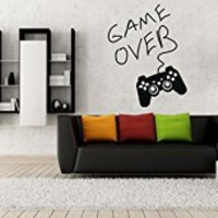 Wall Decal Vinyl Sticker Decals Art Decor Design Gamer Player Gaming Time xbox Game Over Game Controller Kid Children Nursery Bedroom(r1326)