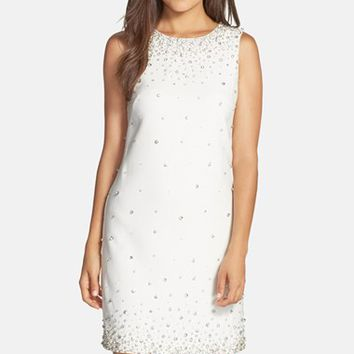 Women's Eliza J Embellished Crepe Shift Dress,