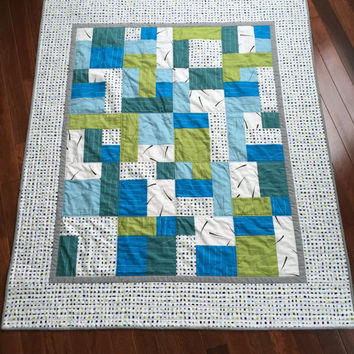 Boy Quilt, Modern Crib Bedding, Toddler Quilt, Lap Quilt - READY TO SHIP