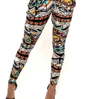 Cute Print Harem Pants-Tribal Pants- Aztec Harem Pants