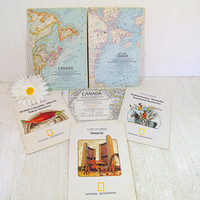 Close Up Canada Travel Collection of 6 National Geographic Society Maps Vintage Tourism Graphic Maps - Ontario Northwest & Yukon Territories