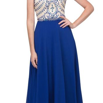 Royal Blue A-line Long Prom Dress Illusion Beaded Neckline