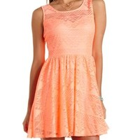 Geometric Lace Skater Dress by Charlotte Russe