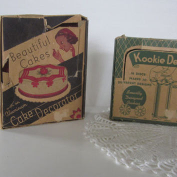 Vintage Cake Decorator and Cookie Maker, Kookie Designer, 50s Retro Aluminum, Sears Roebuck Made in USA Original Box
