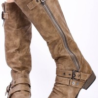 TAUPE CRINKLE FAUX LEATHER MID CALF RIDER BOOTS