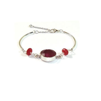 Ruby Bracelet ,  Genuine Ruby ,  Faceted Ruby And Sterling Silver Bracelet , Ruby Jewelry