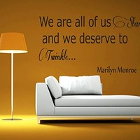 Wall Decals Quotes Vinyl Sticker Decal Quote Marilyn Monroe We are all of us Stars Phrase Home Decor Bedroom Art Design Interior NS57
