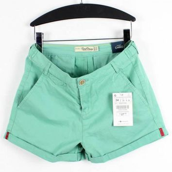 Women Summer New Style Ice Cream Cotton Plus Loose Casual Green Short Pants S/M/L/XL/XXL/XXXL@II0154gr $14.59 only in eFexcity.com.