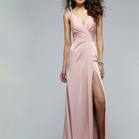 2016 Dusty Pink Pleated V Neck Ruching Sexy High Slit Prom Dress | PinMommy