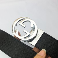 GUCCI Tide brand classic double G head men and women models simple wild smooth buckle belt silver