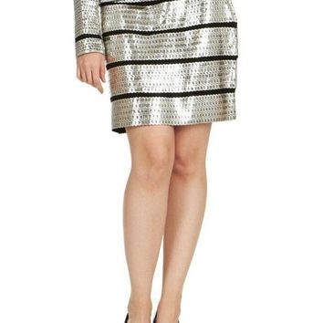 Tom Ford Womens Silver Leather Sequin Applique Skirt