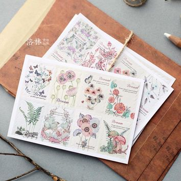 3 Sheets/set Korean Retro Hand-painted Floral Decoration Paper Sticker Diary Stickers Sushi Sticker Scrapbook Paper