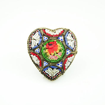 Vintage Brooch Micro Mosaic Italy Heart Shaped 1950s Jewelry