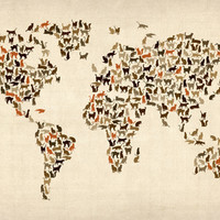 Cats Map of the World Map Stretched Canvas by artPause