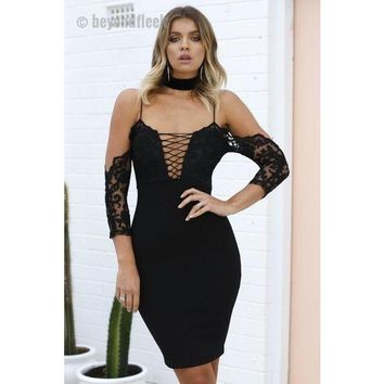 Lace Bodycon Deep Cleavage Dress