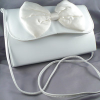1960s White Patent Leather Evening Bag - Large White Silk Bow, Shoulder Strap, Mad Men