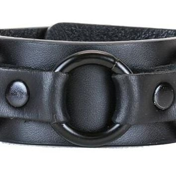 "All Black Strip w/ 3 Black O-Rings Leather Wristband Bracelet Cuff 1-1/4"" Wide"