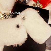 Luxury Top Quality Fur iPhone 4 case, iPhone 4s case, White Fur iPhone 5 Case, Furry iPhone cover, Warm Fur, rabbit skin iPhone cover