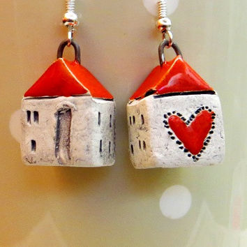 Small house earrings tiny white ceramic house earrings houses of love