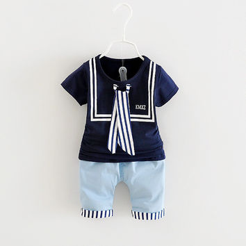 1-4Y Hot Summer Baby Clothes Set Sailor style Baby Suit Cotton Baby Clothing Set Short Sleeve + pants Infant Baby Boy Clothes