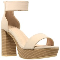 Womens Platform Sandals Open Toe Ankle Strap Chunky Block Heel Shoes Taupe