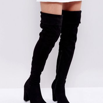Truffle Collection Block Heel Over Knee Boots at asos.com
