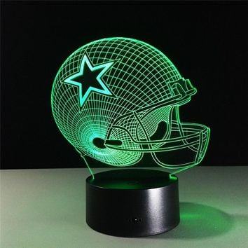 Dallas Cowboys Helmet lamparas 3D led light 7 Colors Change acrylic USB LED Table Lamp Kids Gift Creative Night Lamp Drop Ship