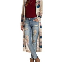 Open Knit Hooded Duster Cardigan Sweater