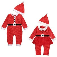 Pudcoco 2Pcs Christmas Newborn Baby Boys Girls Santa Claus Long Sleeve Pullover Fashion New Hot Rompers+ Hat Outfits Set 0-24M