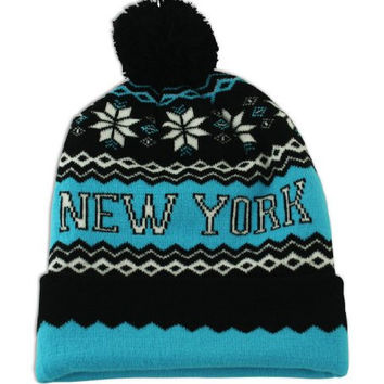 UD Accessories Men's Beanie Hat New York Bobble Pom Pom One Size Black and Turqoise